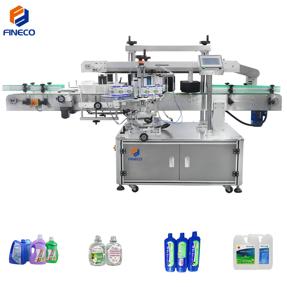 automatic flat bottle two double sides labeling machine
